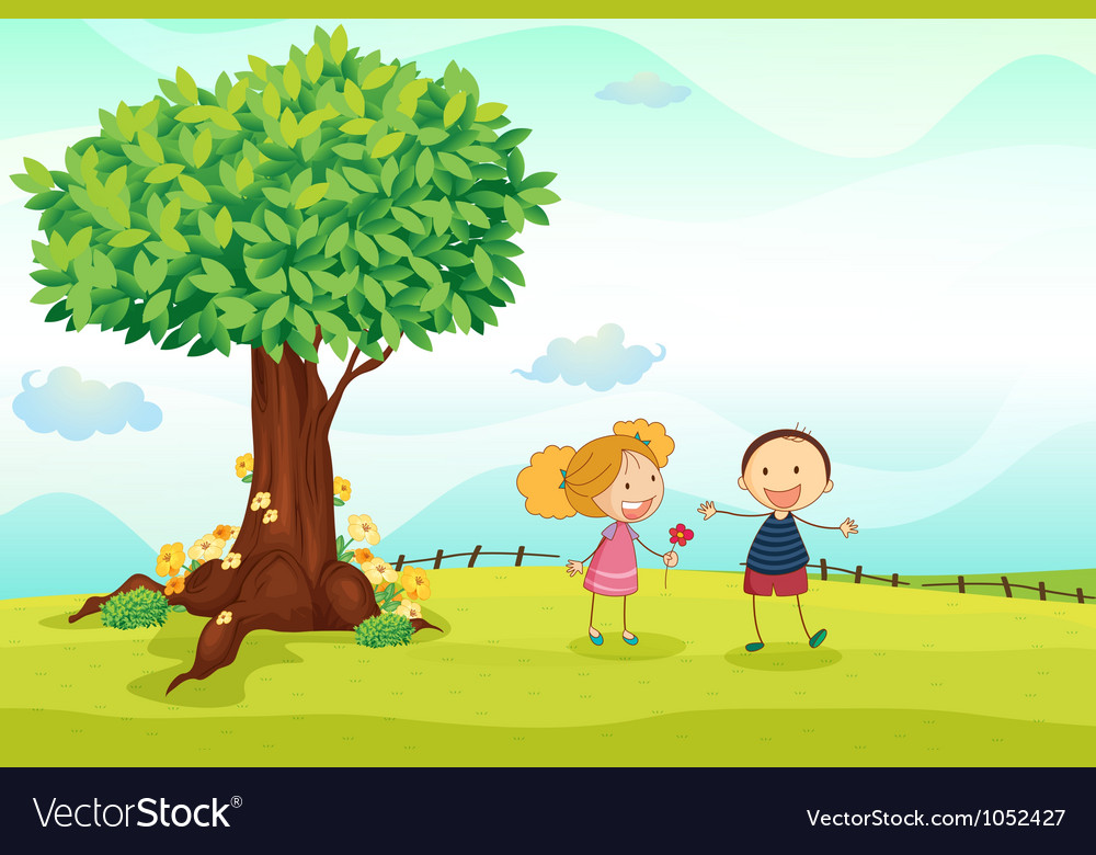 Kids playing in nature vector | Price: 3 Credit (USD $3)