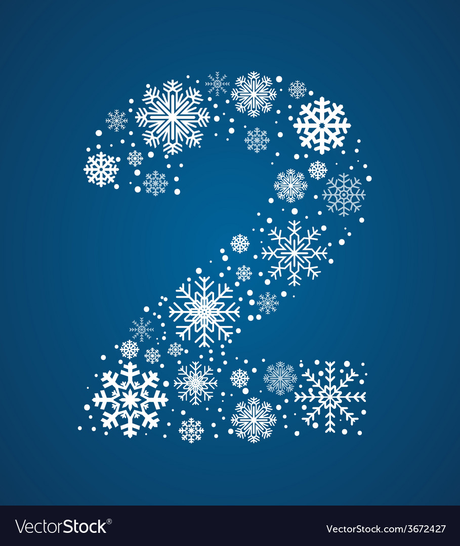 Number 2 font frosty snowflakes vector | Price: 1 Credit (USD $1)