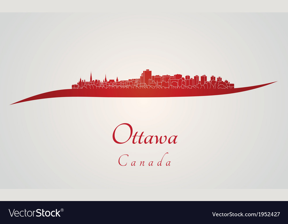 Ottawa skyline in red vector | Price: 1 Credit (USD $1)