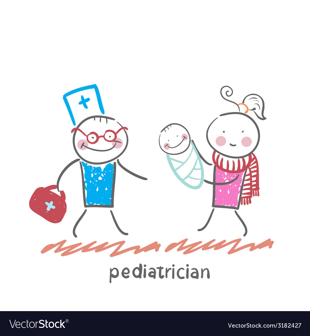 Pediatrician stands next to her mother and sick vector | Price: 1 Credit (USD $1)
