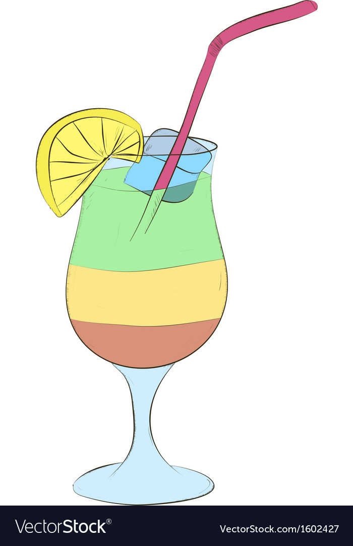 Refreshing cocktail with ice and lemon vector | Price: 1 Credit (USD $1)