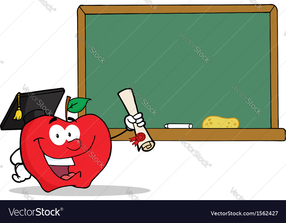 Royalty free rf clipart graduate apple character vector | Price: 1 Credit (USD $1)