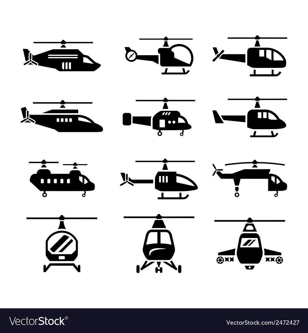 Set icons of helicopters vector | Price: 1 Credit (USD $1)