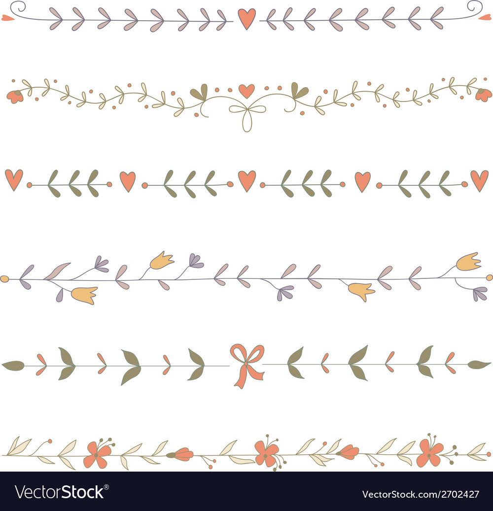 Set of hand drawn floral border elements vector | Price: 1 Credit (USD $1)