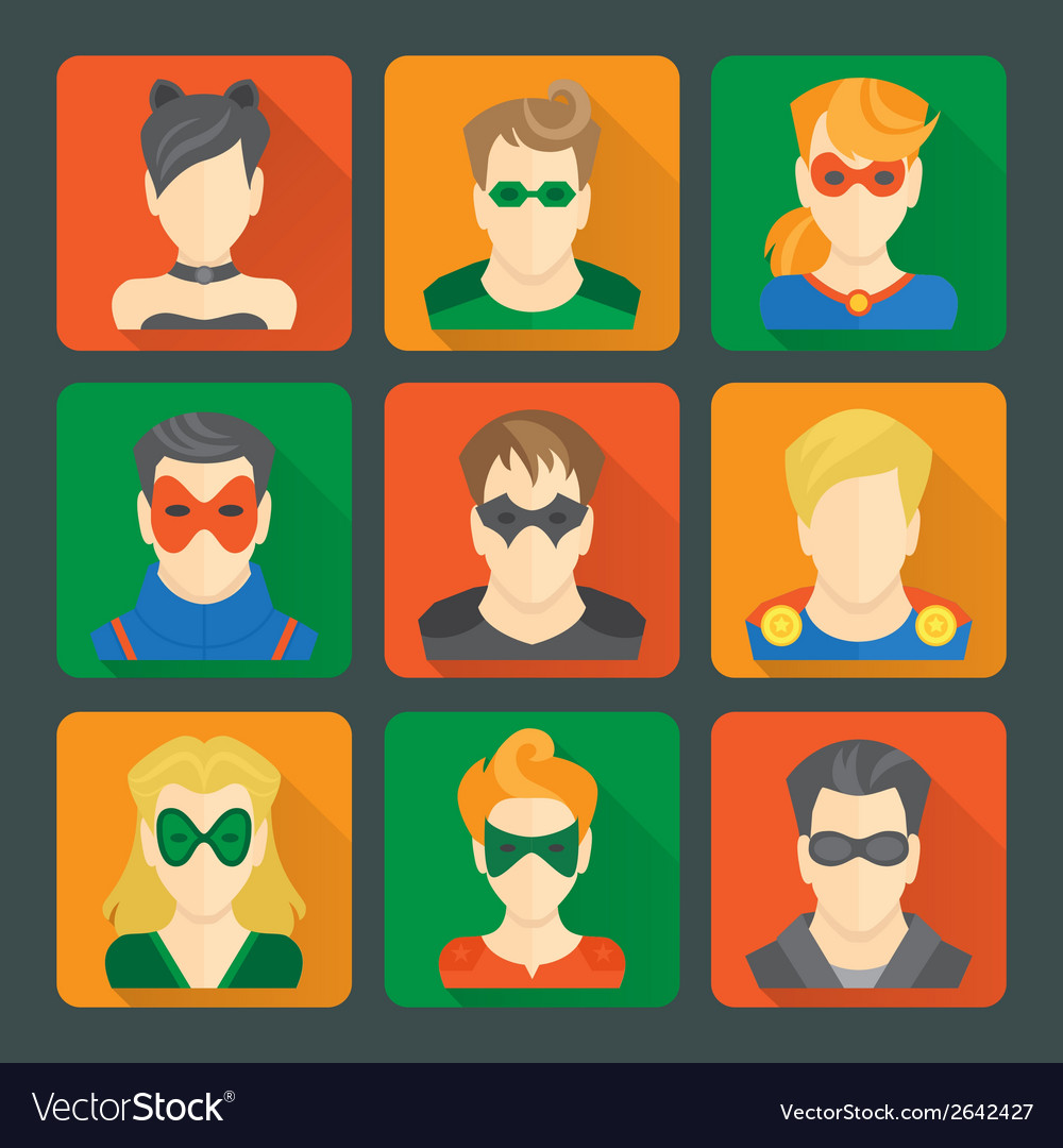 Set of superheroes stickers vector | Price: 1 Credit (USD $1)