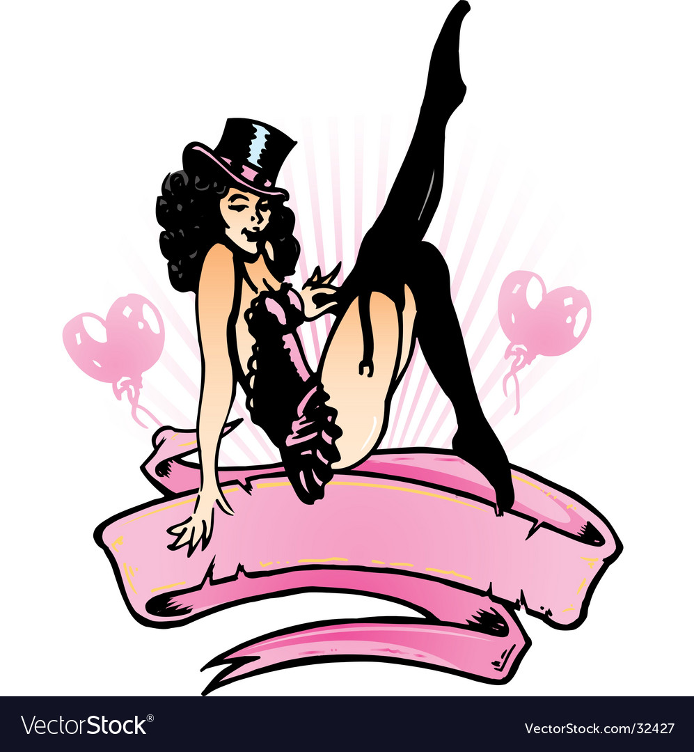 Sexy pin up banner illustration vector | Price: 1 Credit (USD $1)