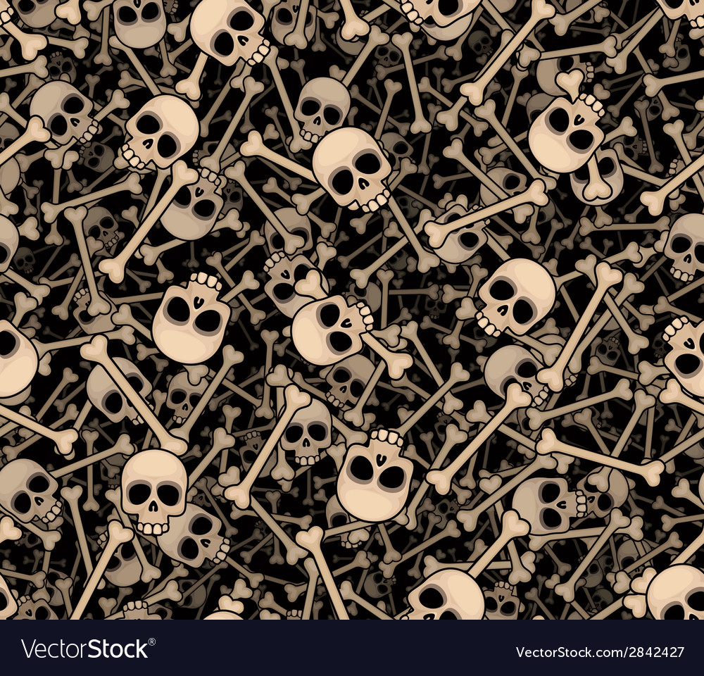 Skulls and bones seamless background vector | Price: 1 Credit (USD $1)