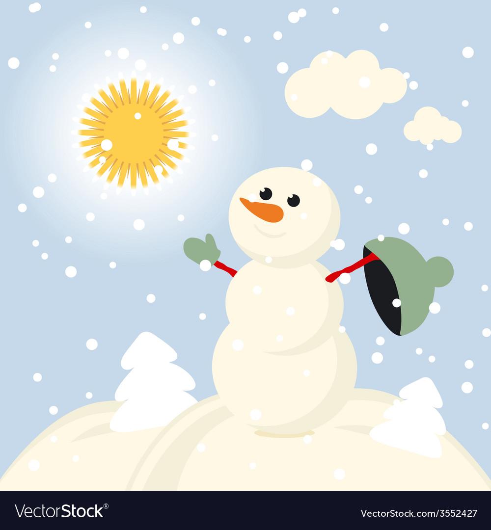 Winter fun snowman kids 2015 retro vector | Price: 1 Credit (USD $1)