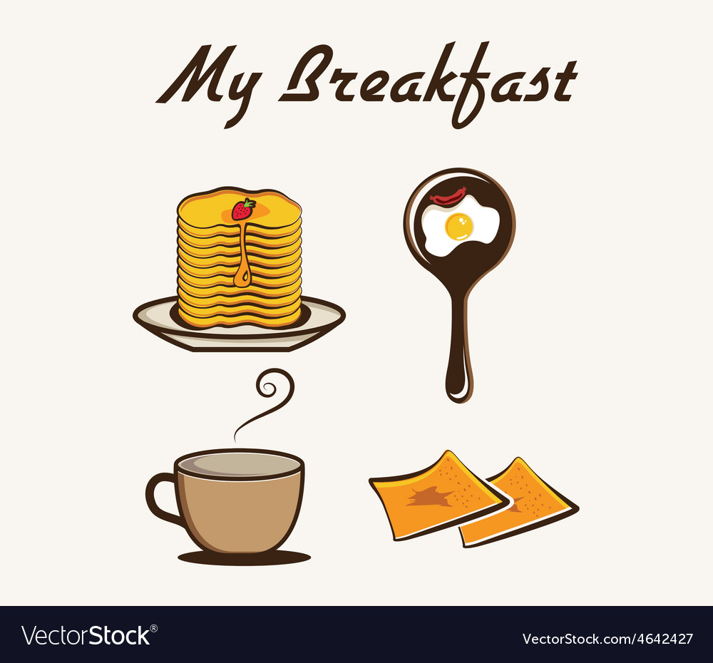 With breakfast items vector | Price: 1 Credit (USD $1)