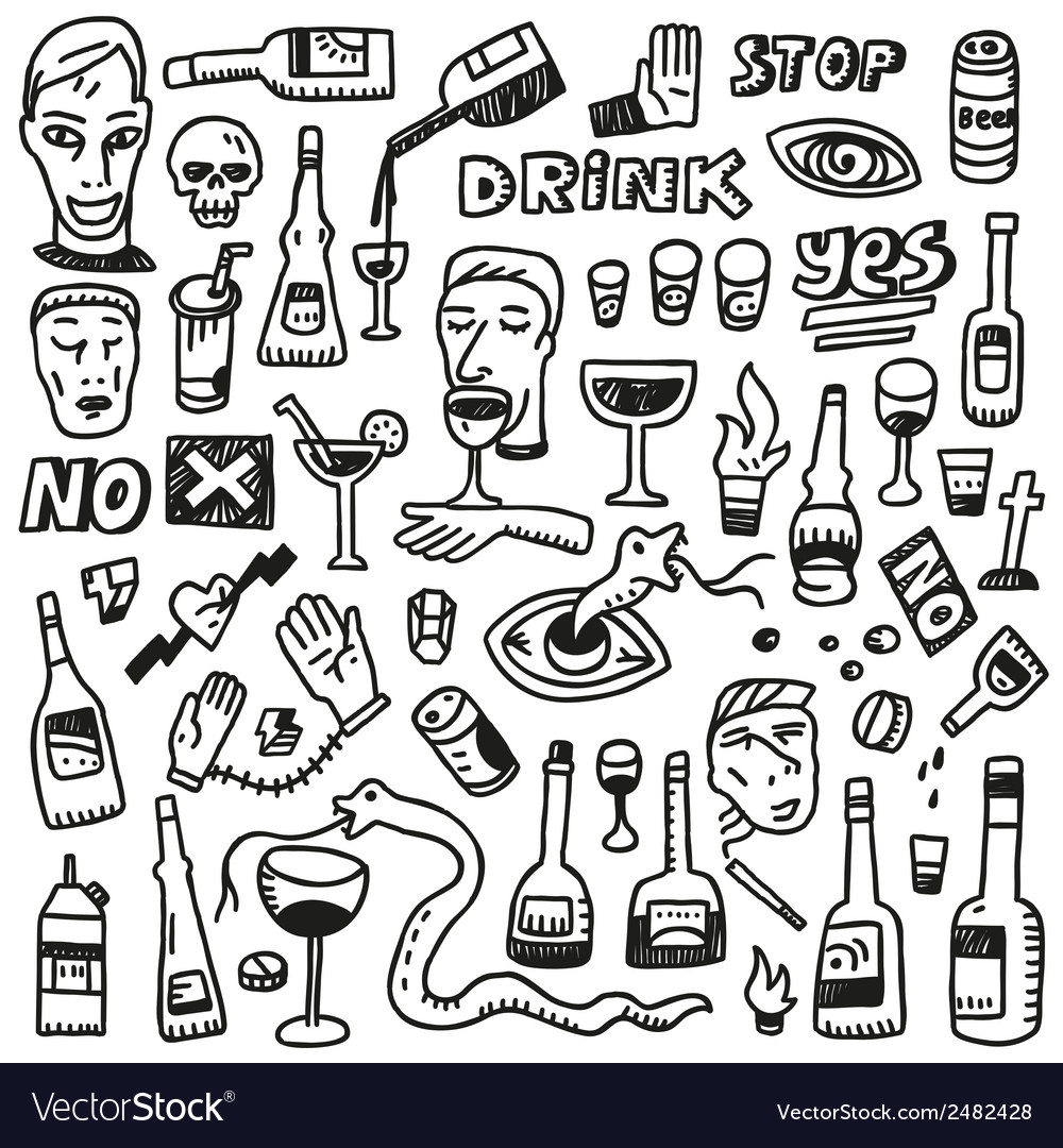 Alcohol bottles - doodles vector | Price: 1 Credit (USD $1)