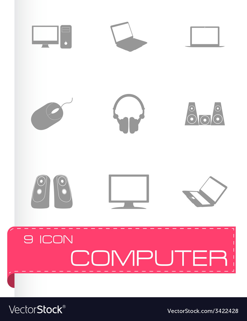 Black computer icons set vector | Price: 1 Credit (USD $1)