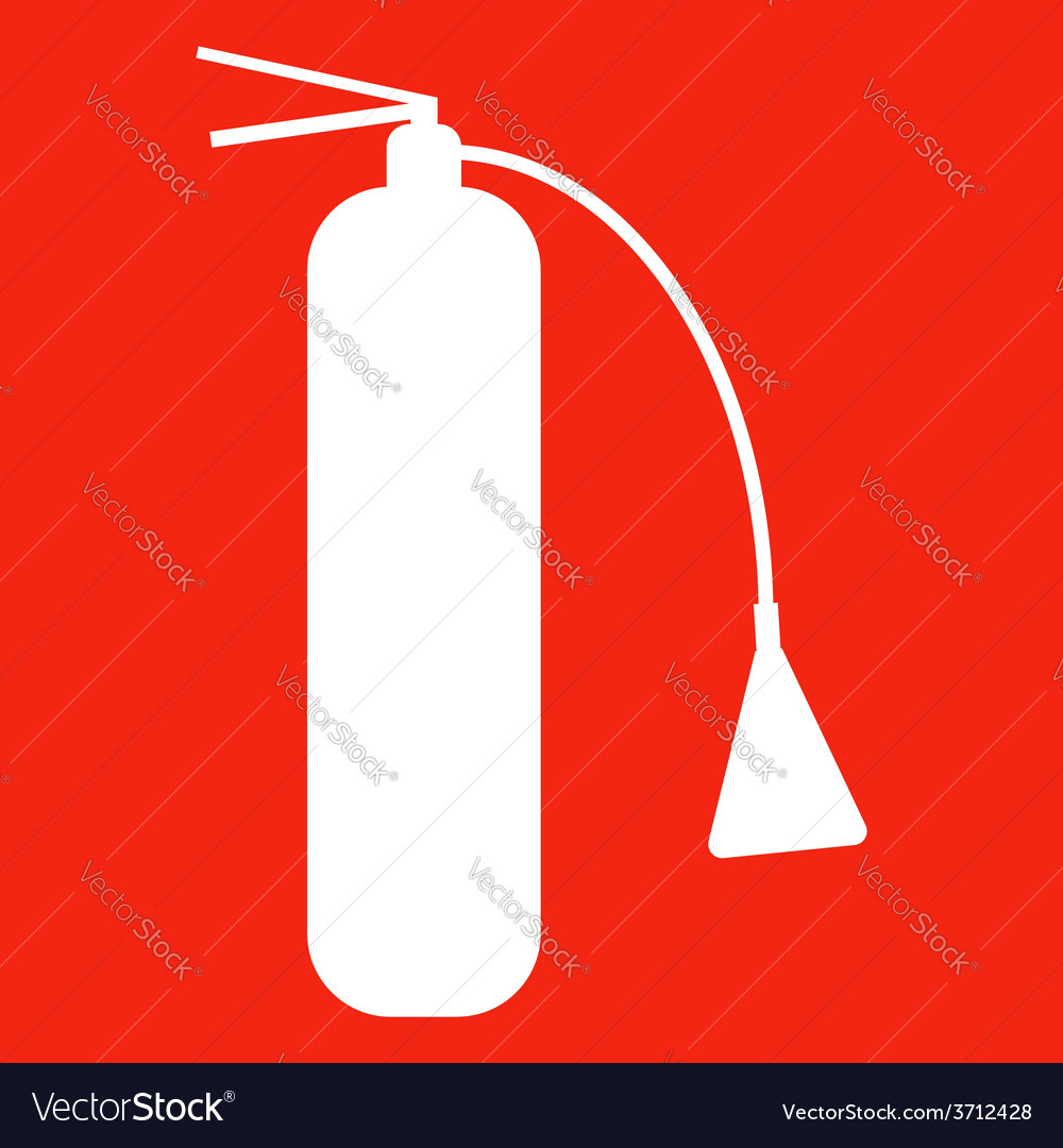 Fire extinguisher isolated on red background icon vector | Price: 1 Credit (USD $1)