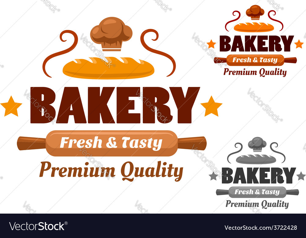 Fresh and tasty cartoon bakery emblem vector | Price: 1 Credit (USD $1)