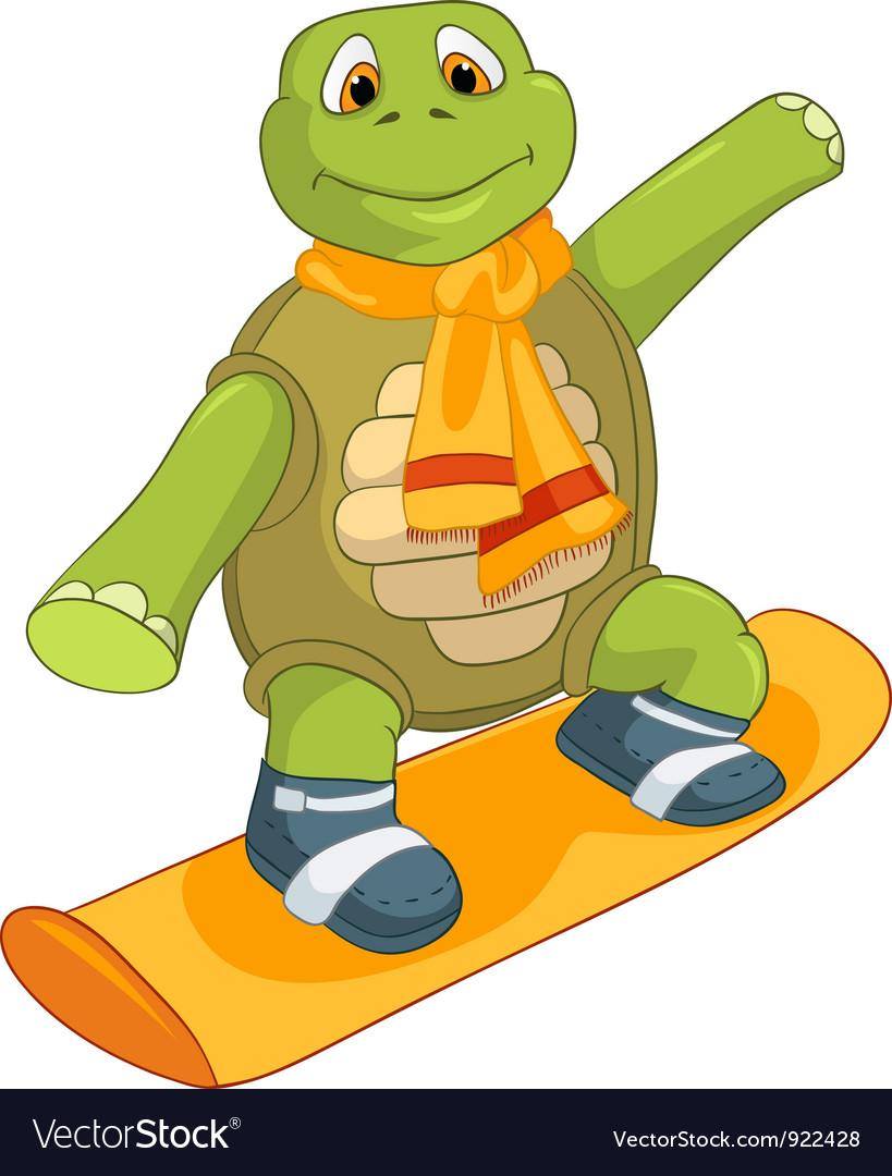 Funny turtle snowboarding vector | Price: 1 Credit (USD $1)
