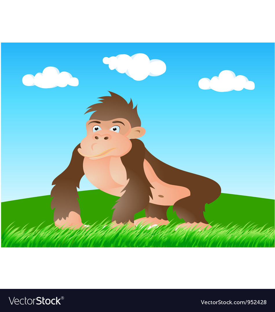 Gorilla in the wild vector | Price: 1 Credit (USD $1)