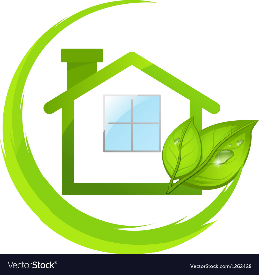 Green logo of eco house with leafs vector | Price: 1 Credit (USD $1)