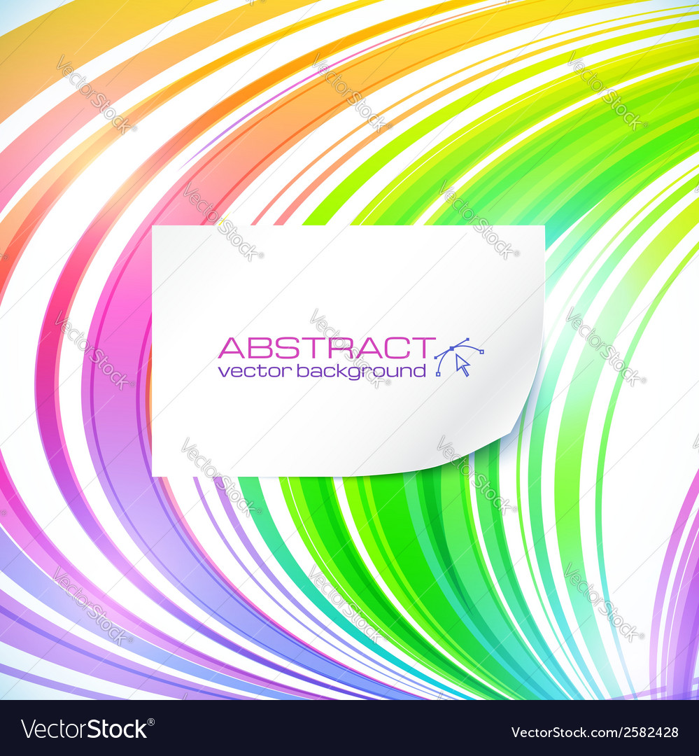 Rainbow abstract lines background with white vector | Price: 1 Credit (USD $1)