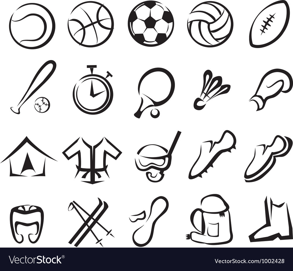 Sports equipment set isolated icons vector | Price: 1 Credit (USD $1)