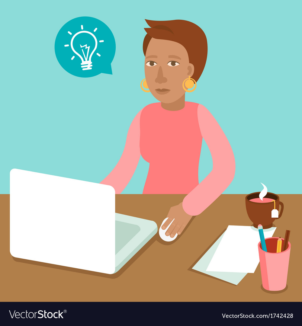 Woman working on his laptop in flat retro style vector | Price: 1 Credit (USD $1)