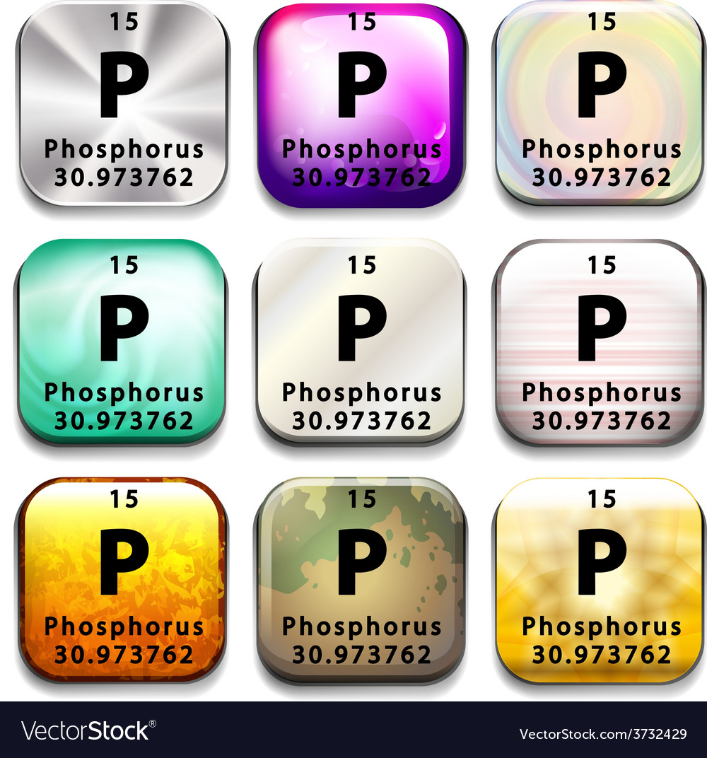 A button showing the element phosphorus vector | Price: 1 Credit (USD $1)