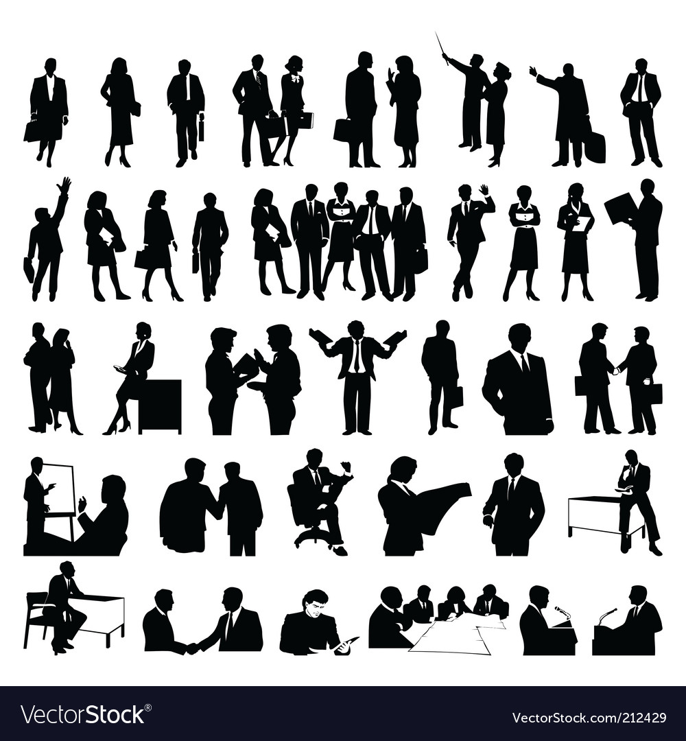 Businessmen silhouettes vector | Price: 1 Credit (USD $1)