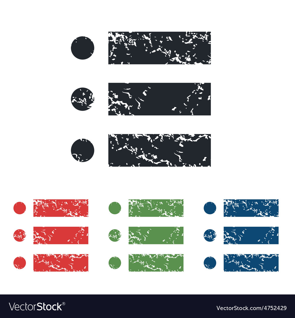 Dotted list grunge icon set vector | Price: 1 Credit (USD $1)