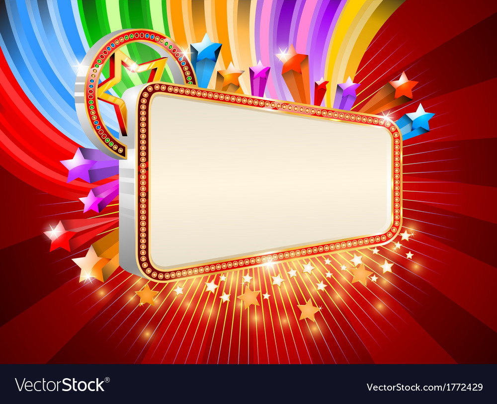 Glossy marquee with colorful stars background vector | Price: 1 Credit (USD $1)