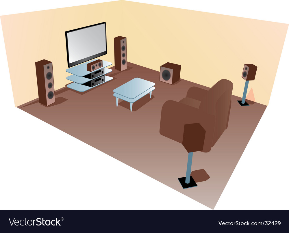 Home cinema set up diagram vector | Price: 1 Credit (USD $1)