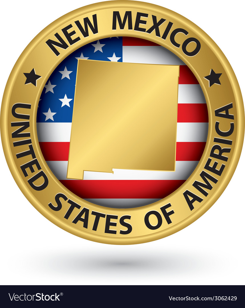 New mexico state gold label with state map vector | Price: 1 Credit (USD $1)
