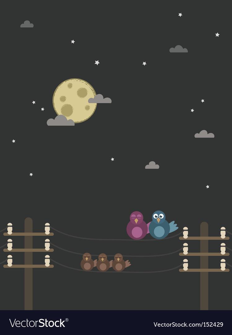 Night birds vector | Price: 1 Credit (USD $1)