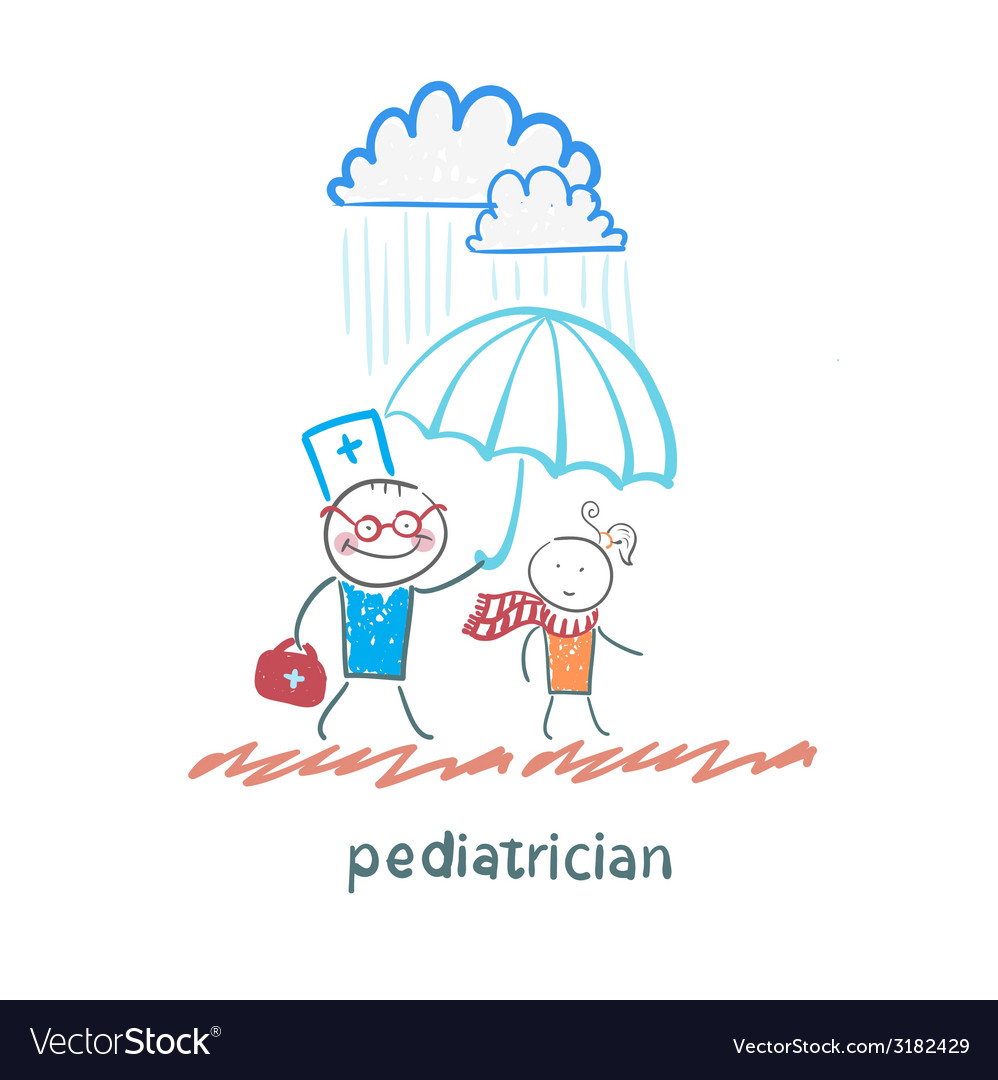 Pediatrician holding an umbrella over the child in vector | Price: 1 Credit (USD $1)