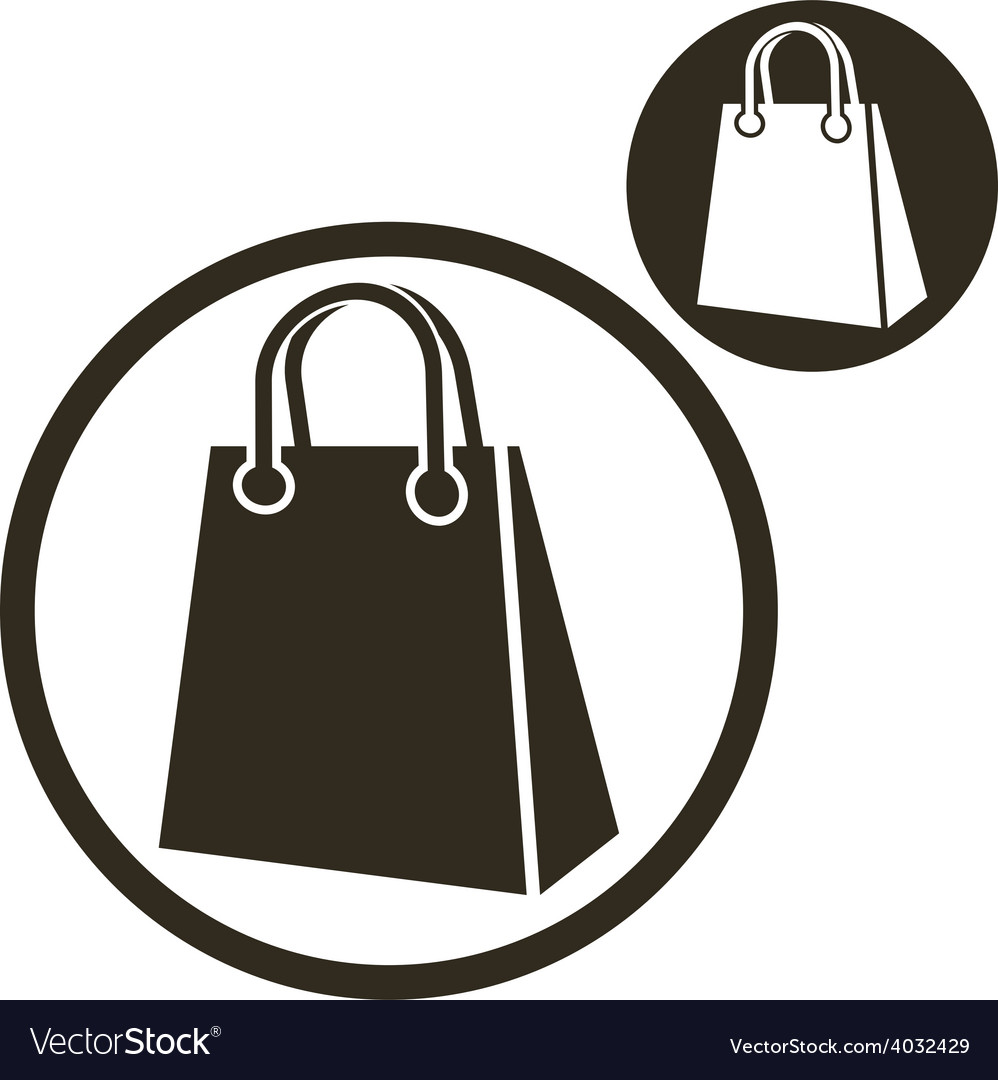 Shopping bag simple single color icon isolated on vector | Price: 1 Credit (USD $1)