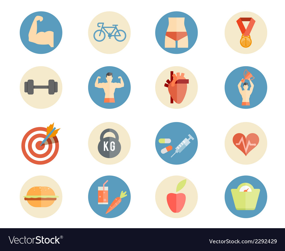 Sport and nutrition icons vector | Price: 1 Credit (USD $1)