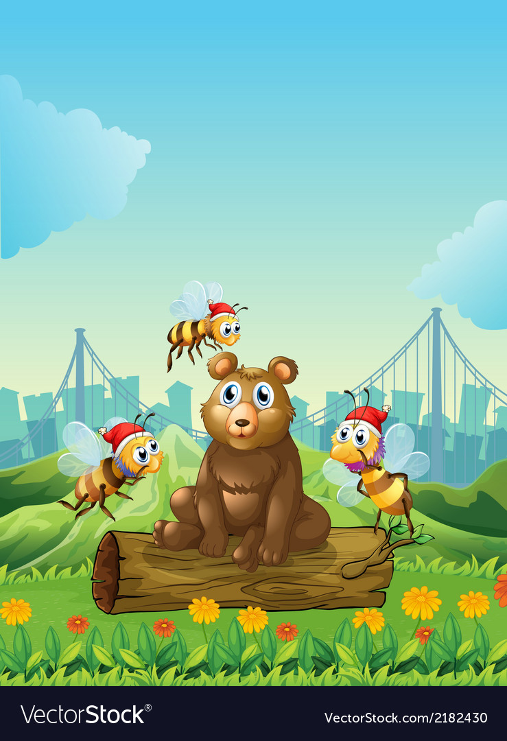 A big bear above the log with three bees vector | Price: 1 Credit (USD $1)