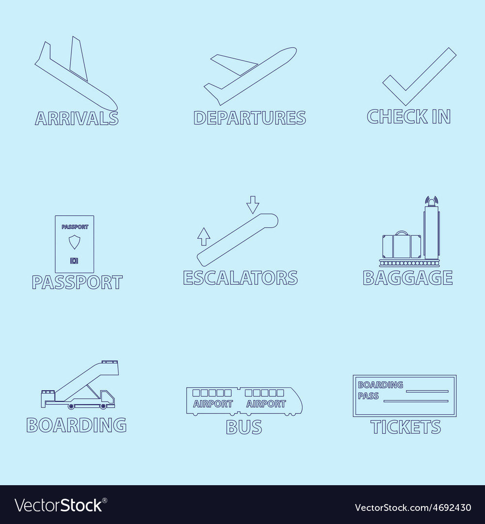 Airport signs for planes outline icons set eps10 vector | Price: 1 Credit (USD $1)