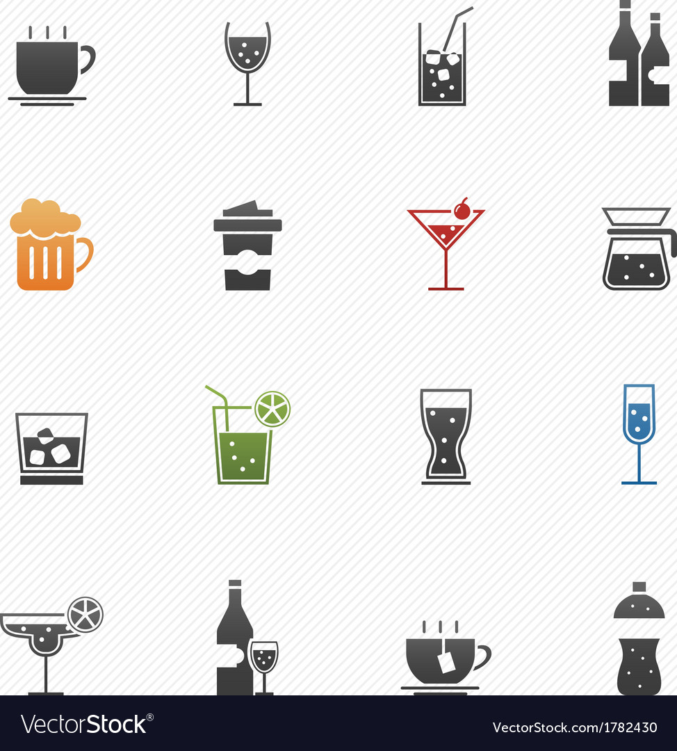 Beverage symbol icons vector | Price: 1 Credit (USD $1)