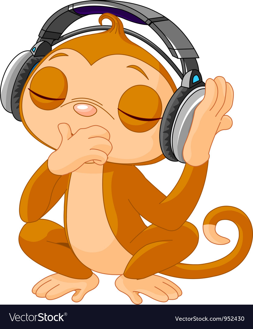 Cute little monkey listening music vector | Price: 3 Credit (USD $3)