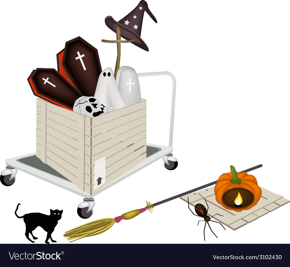 Pallet truck loading halloween items vector | Price: 1 Credit (USD $1)