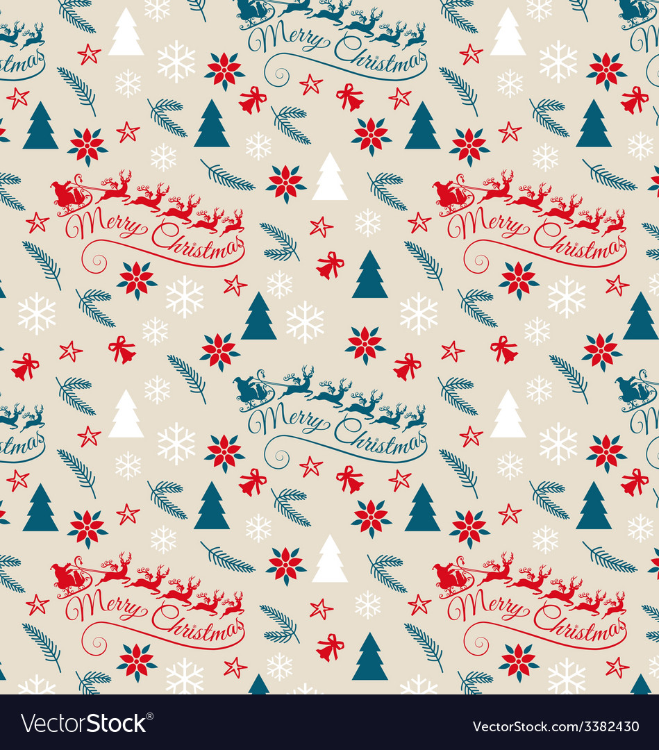 Seamless christmas pattern with santa claus vector | Price: 1 Credit (USD $1)