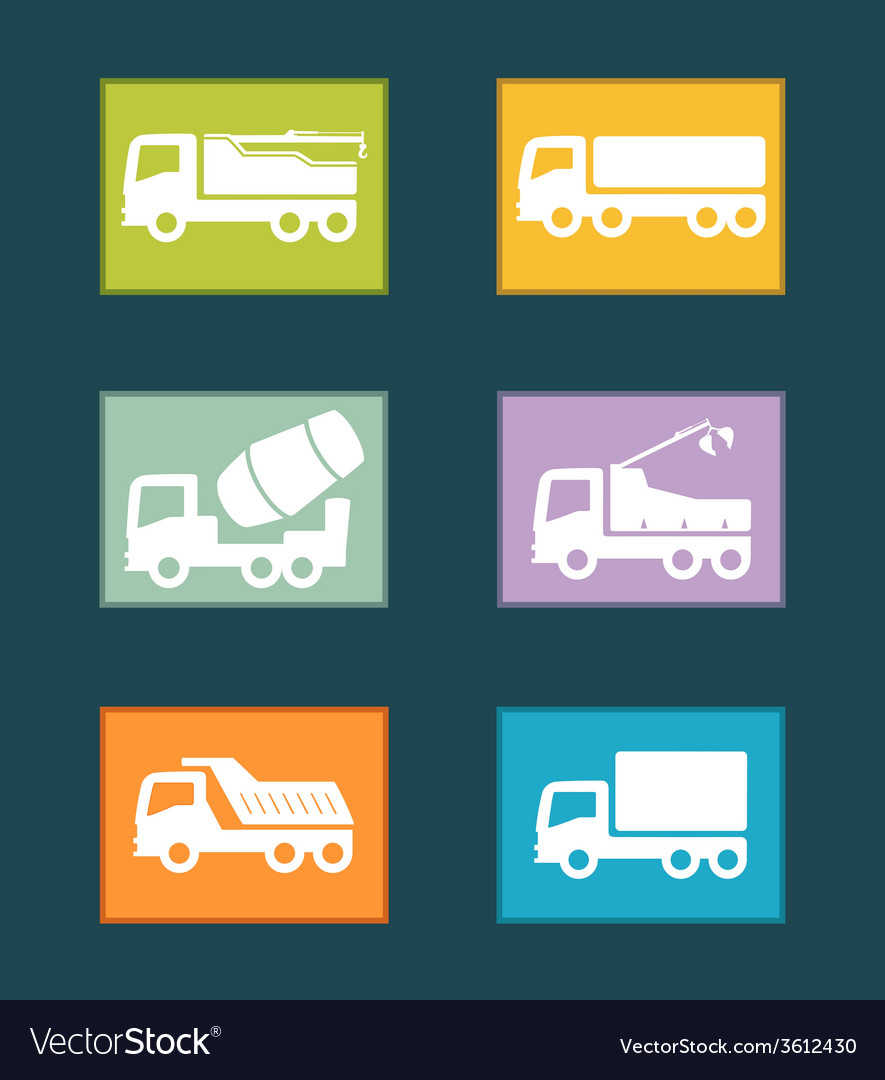 Set colorful industrial transport icon vector | Price: 1 Credit (USD $1)