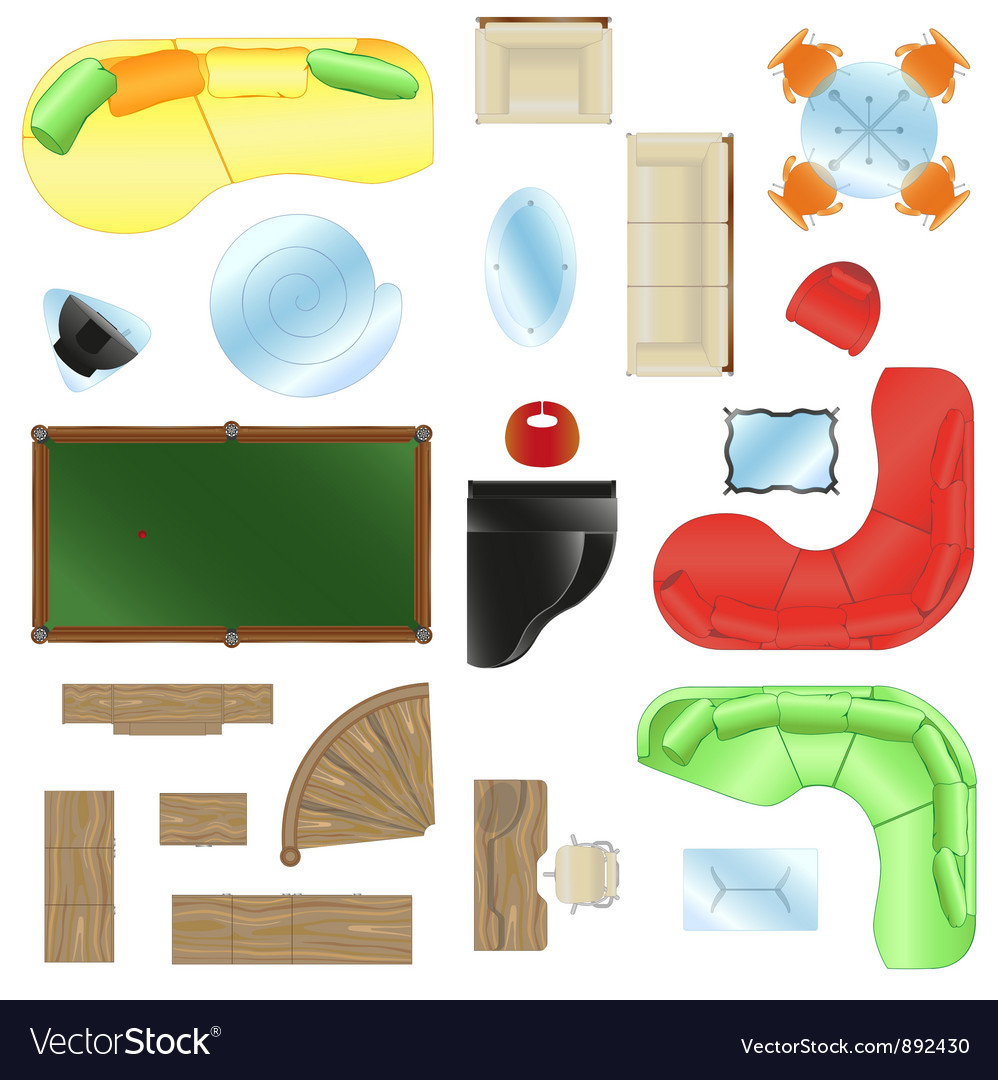 Set of isolated furniture for design of an vector | Price: 1 Credit (USD $1)