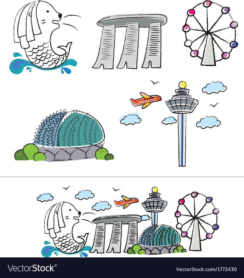 Singapore city skyline cartoon vector
