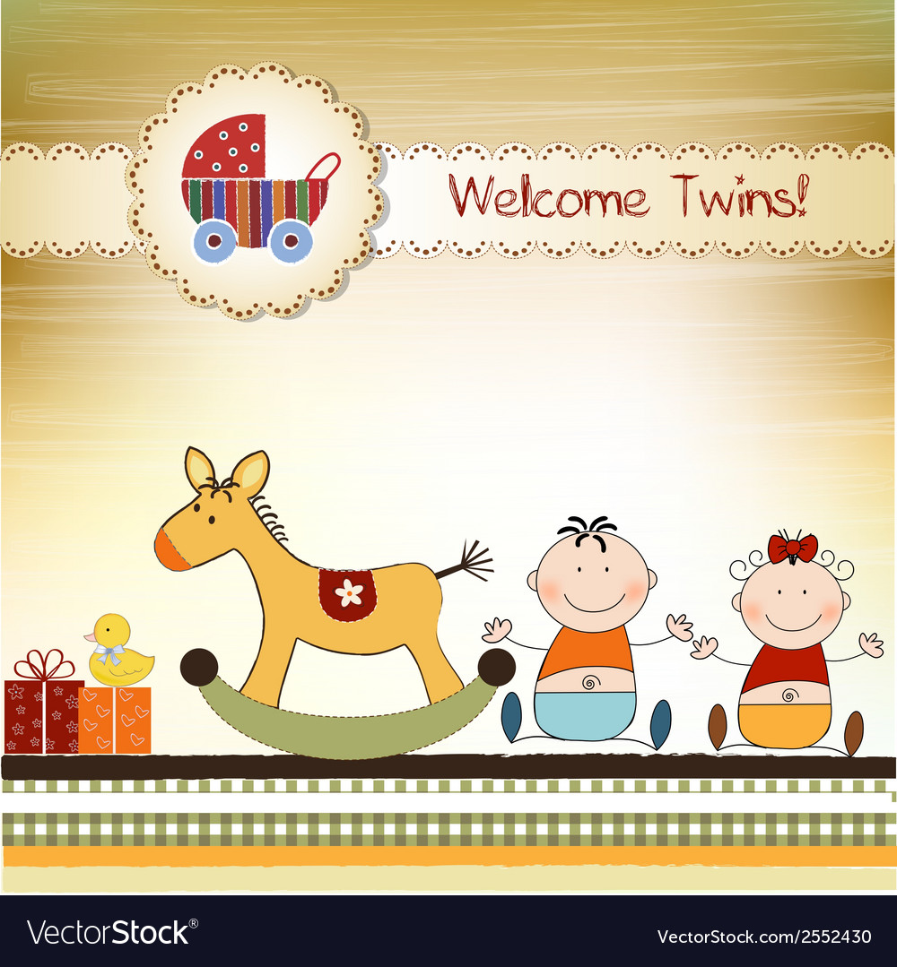 Twins announcement card vector   Price: 1 Credit (USD $1)