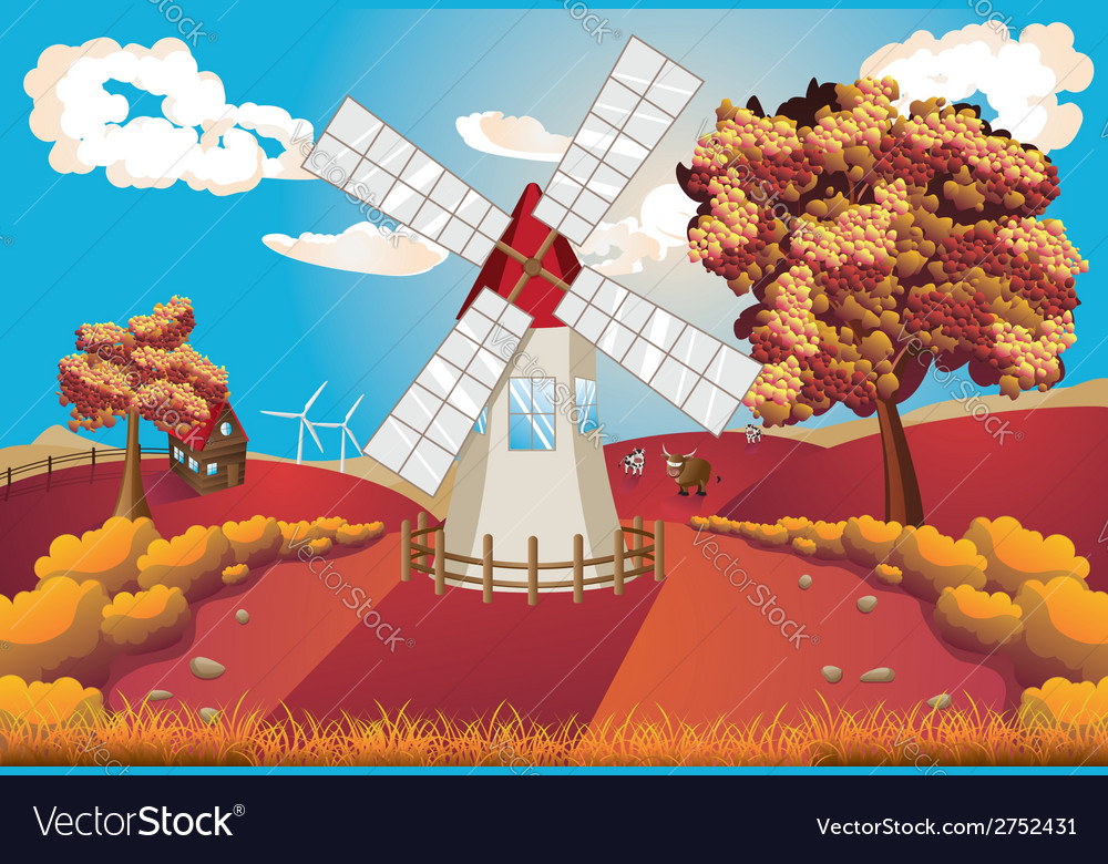 Autumn landscape with windmill vector | Price: 1 Credit (USD $1)