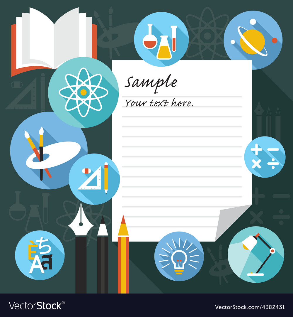 Blank paper frame with education icons vector | Price: 1 Credit (USD $1)