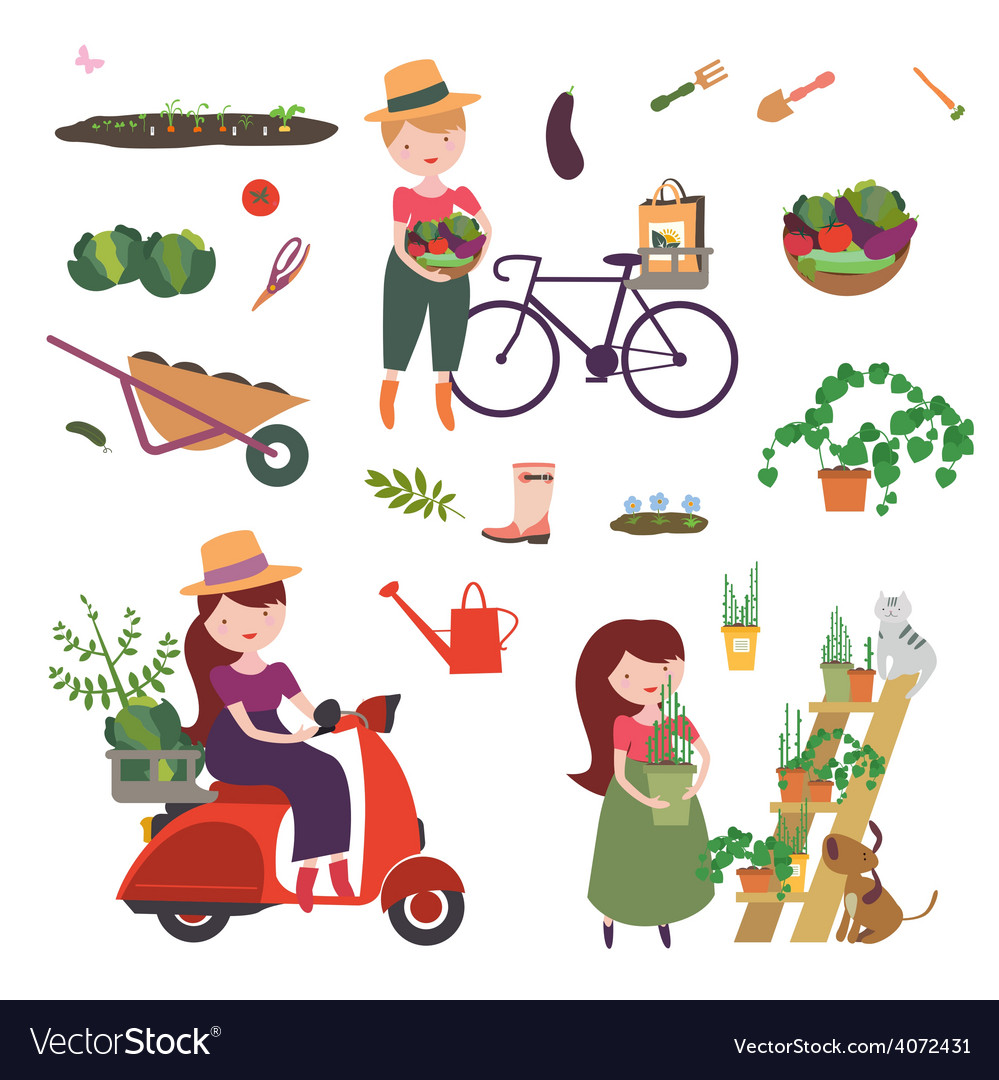 Gardening clip art vector   Price: 1 Credit (USD $1)