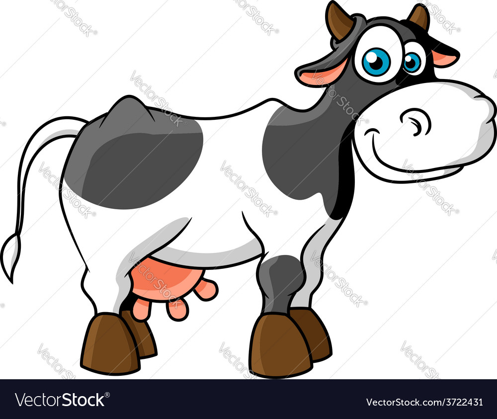 Smiling cartoon spotted cow character vector | Price: 1 Credit (USD $1)