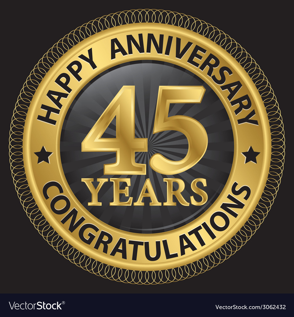 45 years happy anniversary congratulations gold vector | Price: 1 Credit (USD $1)