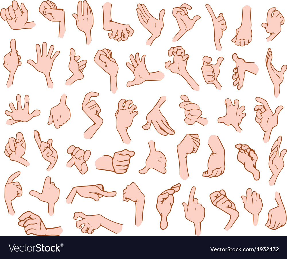 Cartoon hands pack 3 vector