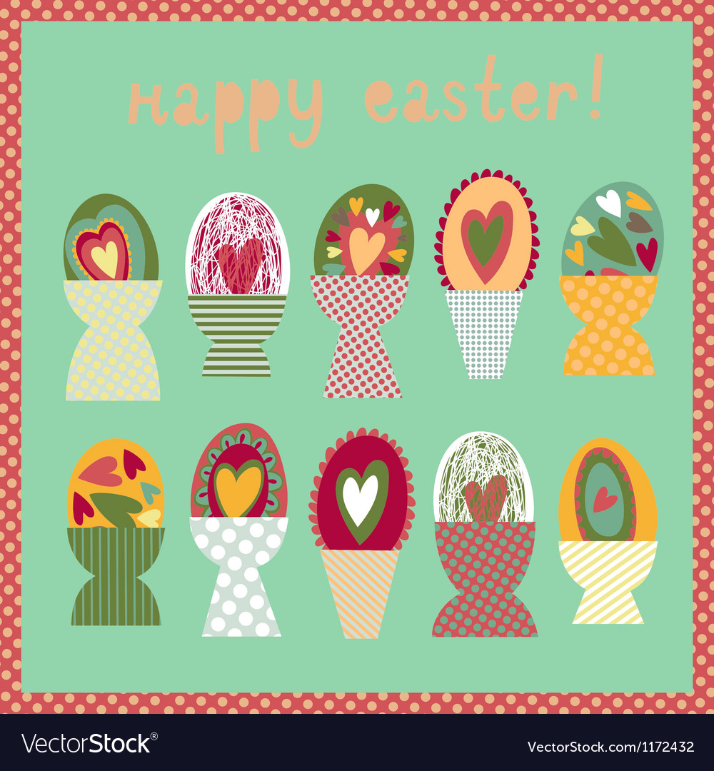 Colorful card with easter egg cups vector | Price: 1 Credit (USD $1)